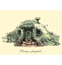 A small mysterious house from fairy tales dwarf vector