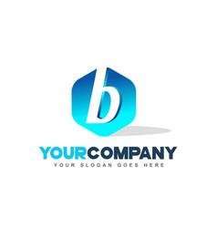 b letter logo hexagon shape modern design vector image