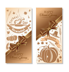 Banner set for thanksgiving day vector
