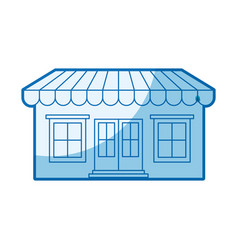 Blue shading silhouette of store with awning vector