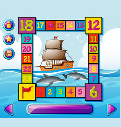 Boardgame template with ship and dolphin at sea vector