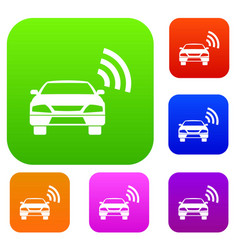 Car with wifi sign set collection vector