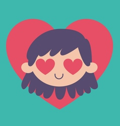 Cartoon girl madly in love vector