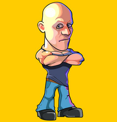 cartoon serious bald man standing with arms vector image vector image