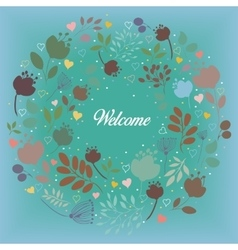 Colorful floral ring welcome vector