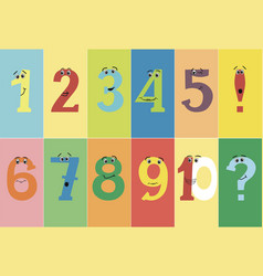 colorful funny numbers from one to ten with eyes vector image vector image