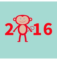 Cute monkey New Year 2016 Baby Greeting card Blue vector image vector image