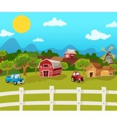 Farm Cartoon Background vector image vector image