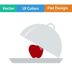 Flat design icon of Apple inside cloche vector image