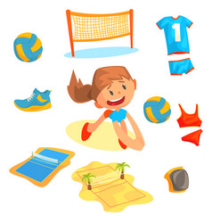 Girl playing with a ball at beach volleyball set vector