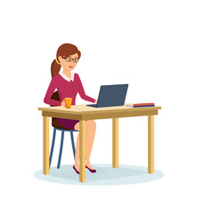 girl working at computer in the cabinet vector image vector image
