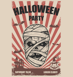 halloween party poster template mummy headtrick vector image