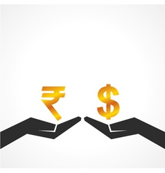 Hand hold dollar and rupee symbol to compare vector image