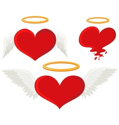Heart with angel wings vector
