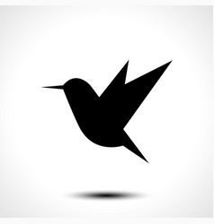 Hummingbird silhouette isolated on white vector