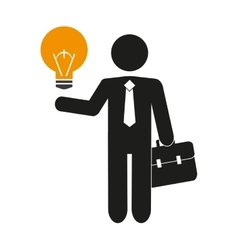 Isolated businessman pictogram and bulb design vector
