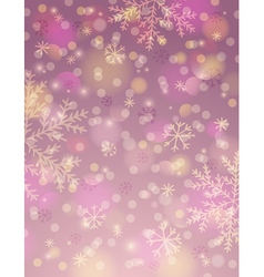 Pink background with snowflake and bokeh vector
