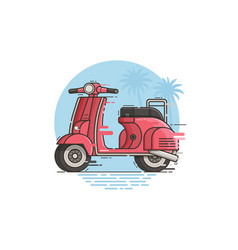 pink motor scooter riding vector image