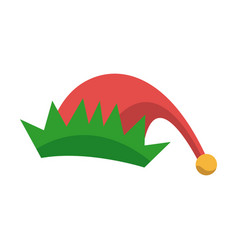 Red and green hat of elf christmas icon vector