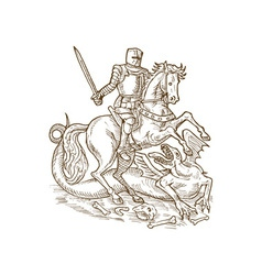 Saint George knight and the dragon vector image