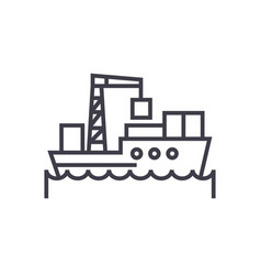 sea logistics ship concept thin line icon vector image vector image