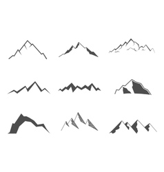 Set of mountain elements Outdoor icon Hand drawn vector image vector image