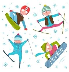 Skier Snowboarder Winter Sport Seasonal Collection vector image