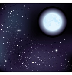 starry sky and moon vector image vector image