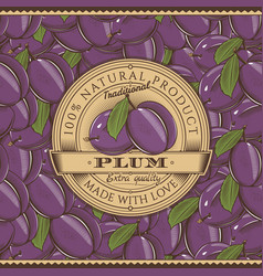 Vintage plum label on seamless pattern vector