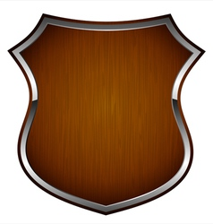 wooden shield vector image vector image