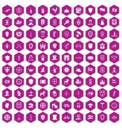 100 shield icons hexagon violet vector