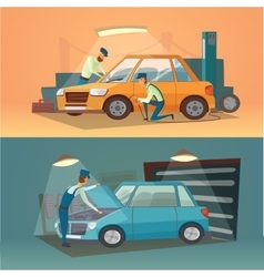 Scenes of car repair  workers vector