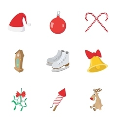 December holiday icons set cartoon style vector image