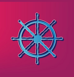 Ship wheel sign  blue 3d printed icon on vector