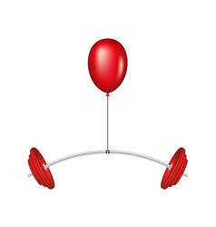 Red balloon lifting a heavy barbell vector