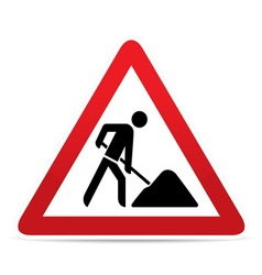 Building construction site warning sign vector