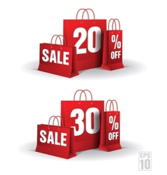 Shopping bag printed with a twenty and thirty vector