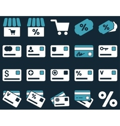 Shopping and bank card icon set vector