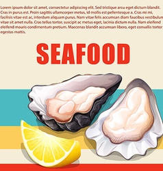 Oysters and lemon on seafood poster vector