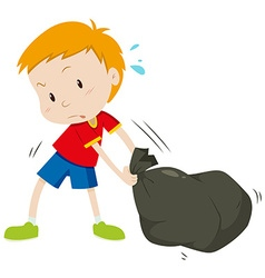 Little boy dragging a black bag vector