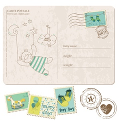 Baby boy arrival postcard with set of stamps vector