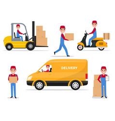 A set cartoon delivery man vector
