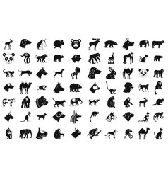 animals icon set simple style vector image vector image