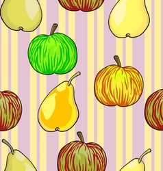 Apples Pears Fruits Pattern vector image vector image