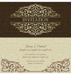 Baroque invitation brown and beige vector image