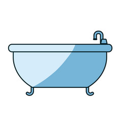 Blue shading silhouette of bathtub icon vector