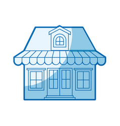 Blue shading silhouette of store with awning and vector