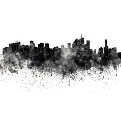 Brisbane skyline in black watercolor on white vector