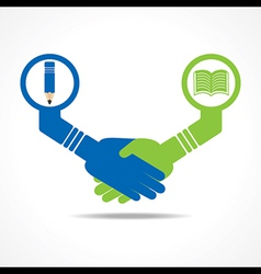 Businessmen handshake between educated people stoc vector