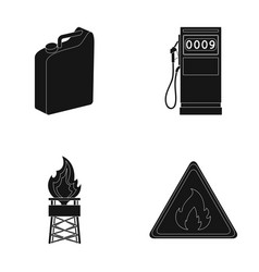 Canister for gasoline gas station tower warning vector
